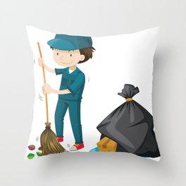 Man Clean Street Sweeper Gift Throw Pillow