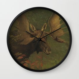 Vintage Painting of a Bull Moose Wall Clock