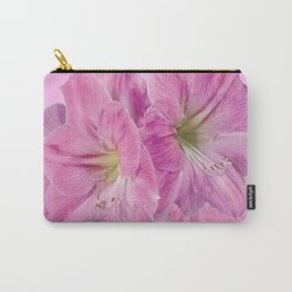 PINK TROPICAL  AMARYLLIS GARDEN FLORAL ON PINK ART Carry-All Pouch