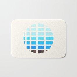 Watercolor Cerulean Blue Minimalist Mid Century Modern Square Matrix Geometric Pattern Round Circle Bath Mat