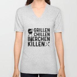 Grillen Chillen Bierchen Killen Unisex V-Neck