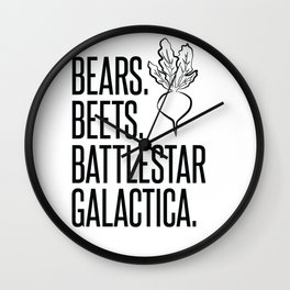 Bears Beets Battlestar Galactica Wall Clock