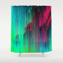 Just Chillin' - Abstract Neon Glitch Pixel Art Shower Curtain