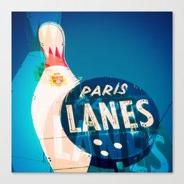 Paris Bowling Lanes Neon Sign Canvas Print