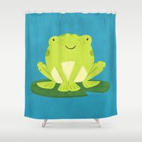 frog Shower Curtains featuring Frog by Claire Lordon