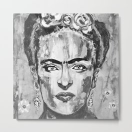 Frida KAHLO Flowers Black and White Metal Print