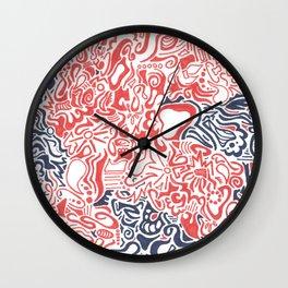 Orange and Blue Line Art Wall Clock