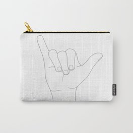 Minimal Line Art Shaka Hand Gesture Carry-All Pouch
