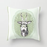 hippie Throw Pillows featuring Hippie Deer! by Sagara Hirsch