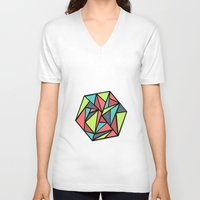 hexagon V-neck T-shirts featuring Hexagon by chrfahnestock