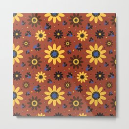 Retro Fall 60's Sunflower Floral in Brown Metal Print