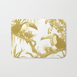 Toucans and Bromeliads - Spicy Mustard Bath Mat