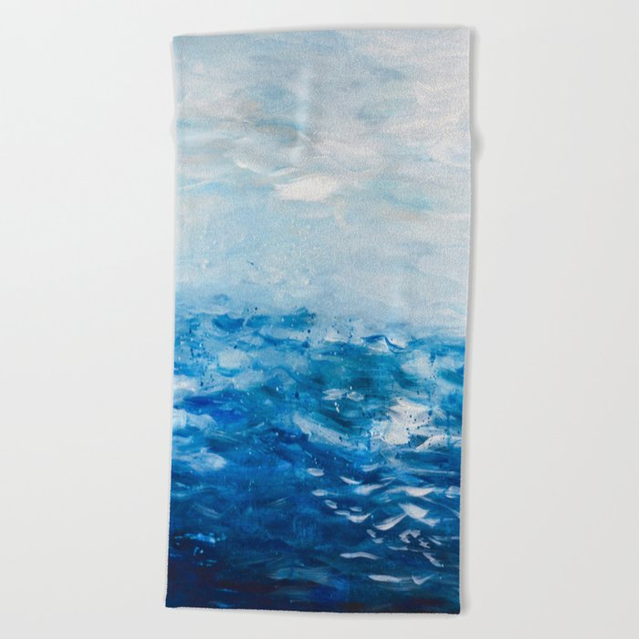 Paint 10 Abstract Water Ocean Seascape Modern Painting Dorm Room Decor Affordable Stretched Canvas Beach Towel By Andrealauren
