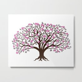 apple tree with pink blossom on the white background Metal Print