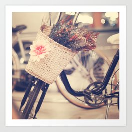 Vintage Bike and Baskwt with flowers Art Print