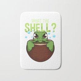 Cute & Funny What The Shell? Turtle Pun Animal Bath Mat