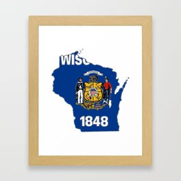 Wisconsin Map with State Flag Framed Art Print