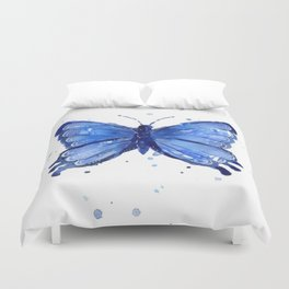 Butterfly Blue Watercolor Animal Painting Duvet Cover
