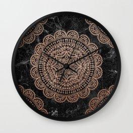 Mandala - rose gold and black marble 2 Wall Clock