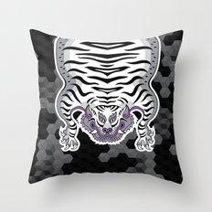 TIBETAN TIGER WHITE (black) Throw Pillow