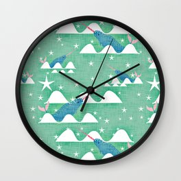 Sea unicorn - Narwhal green Wall Clock
