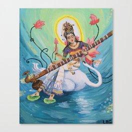Saraswati, Hindu Goddess of Music Art & Knowledge Canvas Print