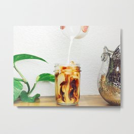 Coffee & Cream // Slow Milky Pour Over Cold Brew Caffeine in Mason Jar Plants & Owl Picture Metal Print