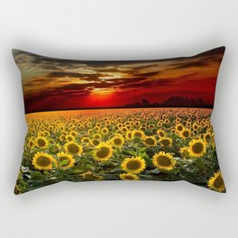 Sunflowers and Sunflower fields at sunset - Scituate, Rhode Island - Jeanpaul Ferro Rectangular Pillow