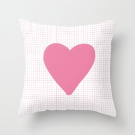 Blush Pink Heart on Grid Throw Pillow