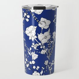 Botanical hand painted navy blue white floral Travel Mug