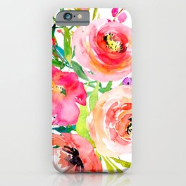 Flower design, watercolor hand drawing iPhone Case