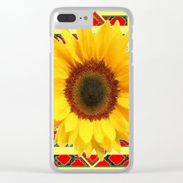 WESTERN RED ART DECO YELLOW SUNFLOWER ART Clear iPhone Case