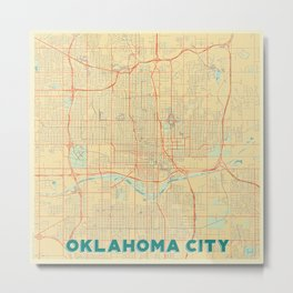 Oklahoma City Map Retro Metal Print