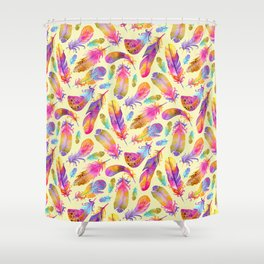 Sunset Flowers in Watercolour - Yellow Shower Curtain