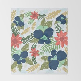 Hawaiian Flowers Pattern Throw Blanket