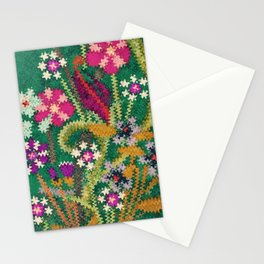 Starry Floral Felted Wool, Green Stationery Cards