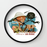 fear and loathing Wall Clocks featuring Fear and Loathing in Las Vegas by Danilo Fiocco