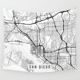 San Diego Map, California USA - Black & White Portrait Wall Tapestry