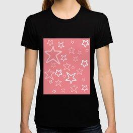 pink stars pattern pink backround T-shirt