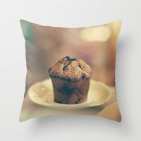 cupcake Throw Pillows featuring Cupcake  by Caroline Mint
