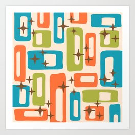 Retro Mid Century Modern Abstract Pattern 921 Orange Chartreuse Turquoise Art Print