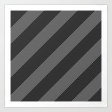 Stripes Diagonal Black & Gray Art Print