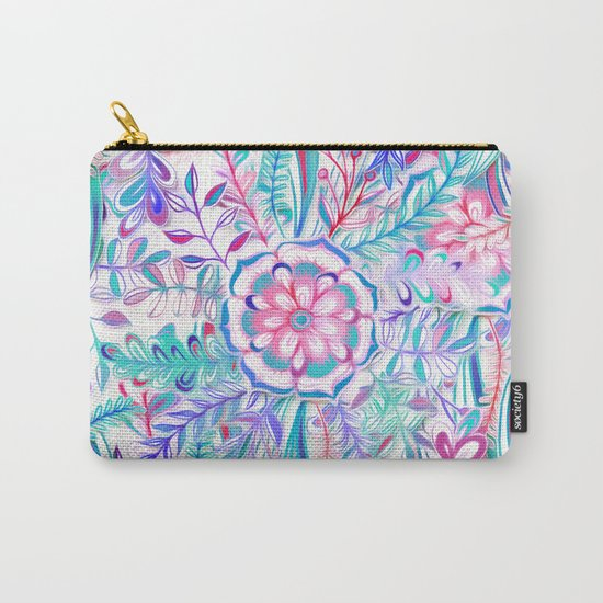 Boho Flower Burst in Pink and Teal Carry-All Pouch