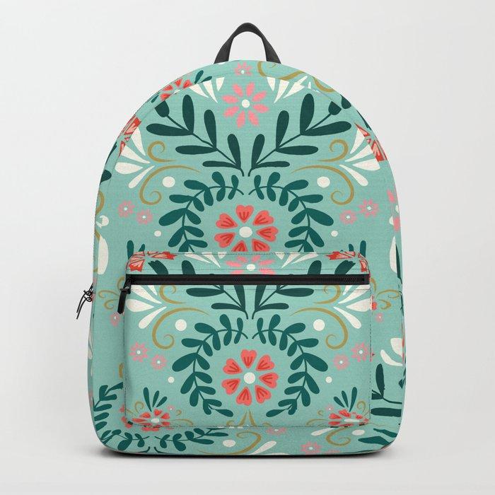 Floral Folk Pattern Backpack