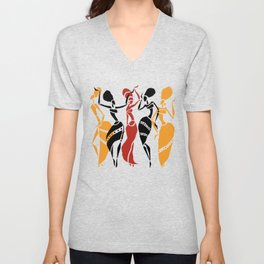 Abstract African dancers silhouette. Figures of african women. Unisex V-Neck