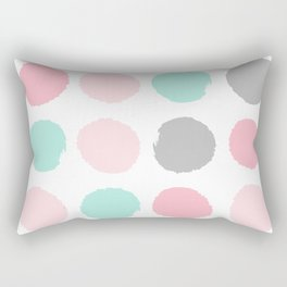 Polka dots abstract dotted pattern brushstrokes paint brush marks abstract trendy colors Rectangular Pillow