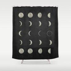 Moon Phases, Black White Decor, Bohemian, Magic, Lunar Cycle Shower Curtain