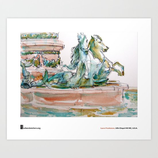 """Laura Frankstone, """"Fontaine de l'Observatoire, Paris"""" Art Print"""
