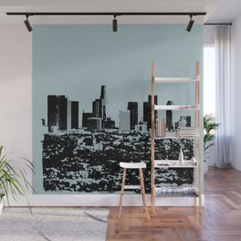 Downtown Los Angeles Skyline - Stamp Pattern on Light Blue Wall Mural