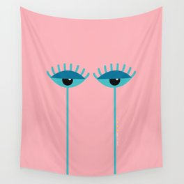 Unamused Eyes | Turquoise on Dark Peach Wall Tapestry